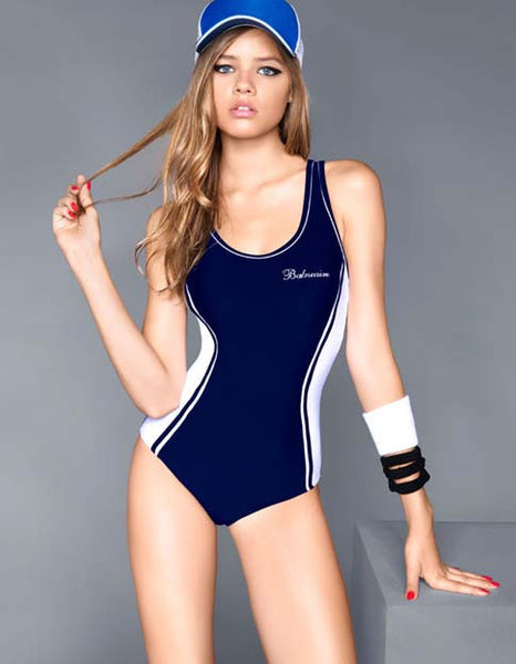 Chic blue Backless One Piece Swimsuit - girlyrose.com