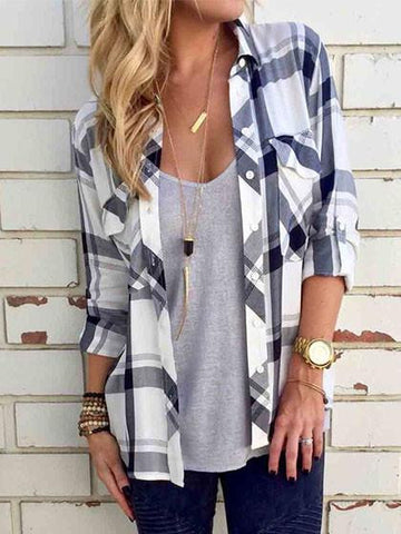 Plaid Chest Pocket Long Sleeve Shirt - girlyrose.com