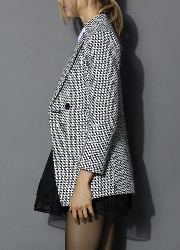 Classy Double Breasted Tweed Coat - girlyrose.com