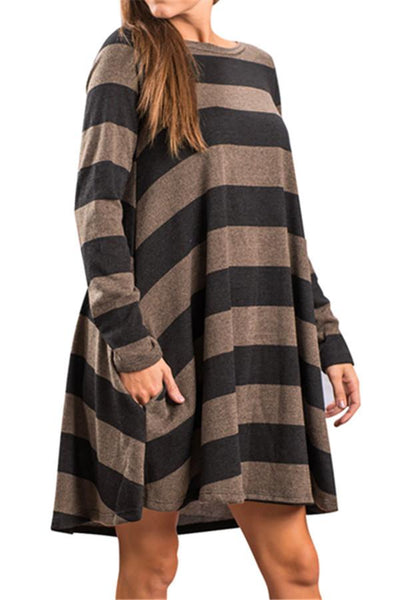 Colorful Striped Sweater Dress - girlyrose.com
