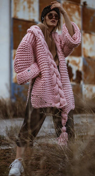Chunky Wide Long Sleeve Knit Cardigan - girlyrose.com