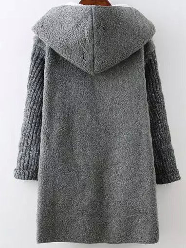 Contrast Sleeve Hooded Sweater Coat
