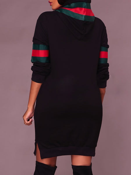 Contrast Stripe Print Split Hoodie Sweatshirt Dress