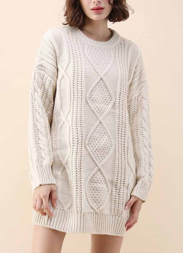 Cozy Everyday Cable Knit Longline Sweater in Off-White - girlyrose.com