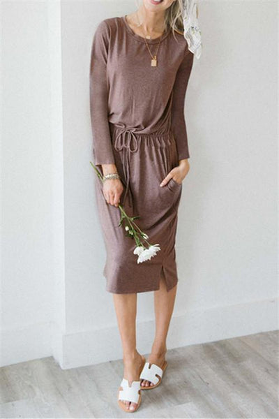 Cozy Self Tie Midi Dress