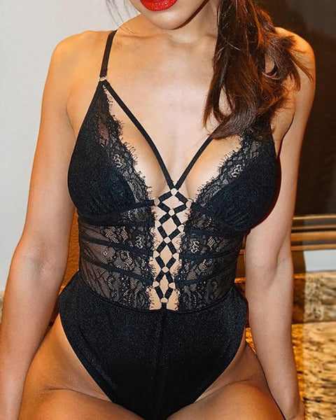 Criss Cross Floral Lace Teddy Bodysuit - girlyrose.com