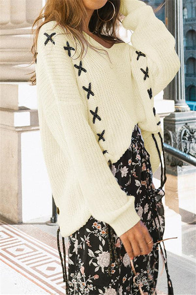 Cross Embroidery Loose Sweater - girlyrose.com