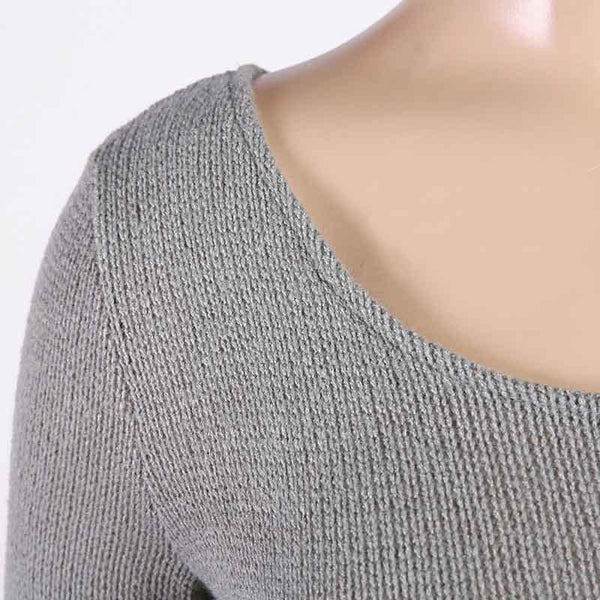 Cute Gray Off Shoulder Crochet Sweater Top