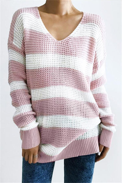 Cute Pink Striped Sweater - girlyrose.com