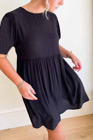 Solid O Neck Short Sleeve Dress