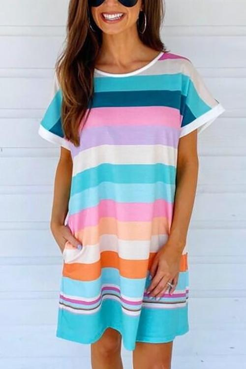 Colorful Stripe Pockets Mini Dress - girlyrose.com