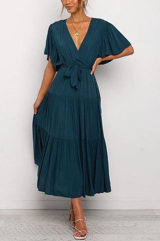 Solid Ruffles Belted Maxi Dress - girlyrose.com