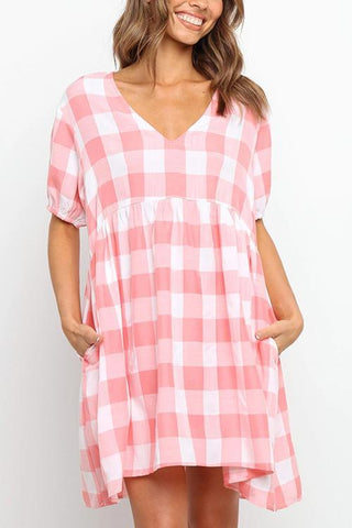 Plaid Pockets V Neck Mini Dress - girlyrose.com