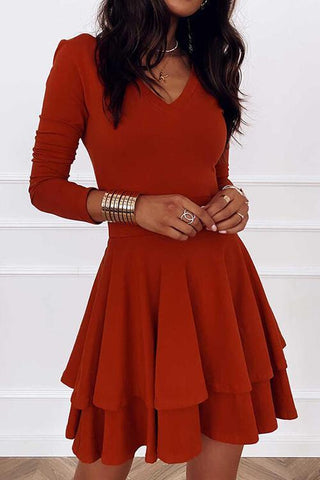 Layer V Neck Long Sleeve Dress