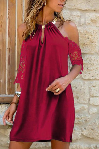 Lace Cold Shoulder Backless Mini Dress