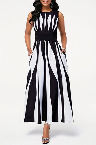 Radial Stripe Sleeveless Maxi Dress