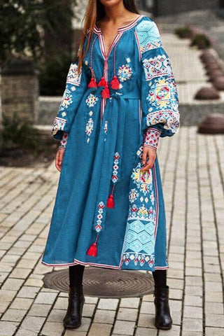 Boho Print Tassels Puff Sleeve Maxi Dress