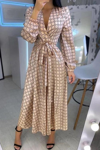 Print Puff Long Sleeve Belted Maxi Dress