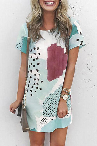 Print Patchwork O Neck T Shirt Dress
