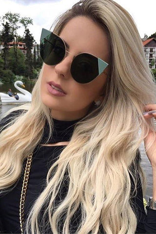 Cat Eye Mirror Flat Sunglasses - girlyrose.com