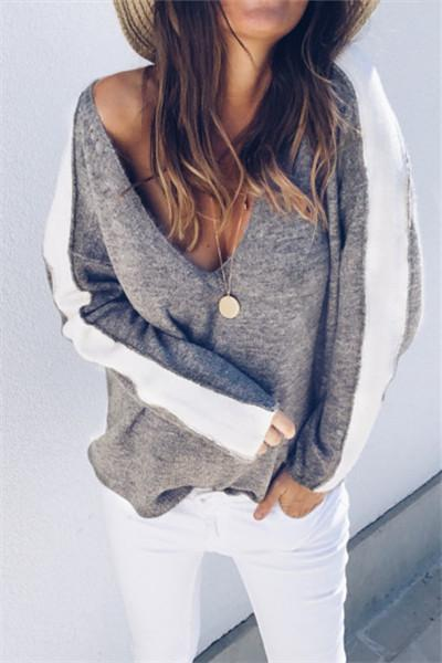 Deep V Patchwork Sleeve Sweater