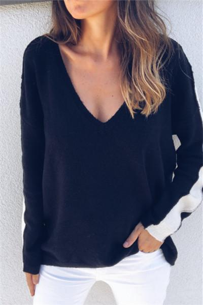 Deep V Patchwork Sleeve Sweater - girlyrose.com