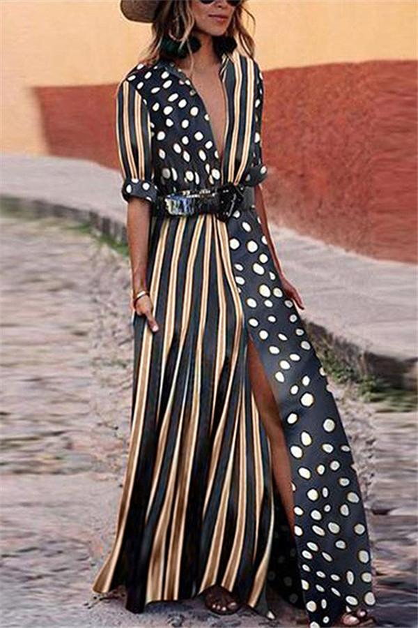 Dot Striped Patchwork Maxi Dress - girlyrose.com