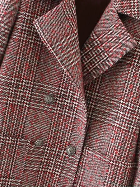 Double Breasted Check Coat - girlyrose.com