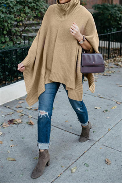 Duplicate Turtleneck Camel Cape - girlyrose.com