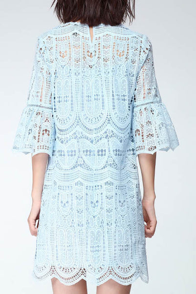 Echo of Exquisiteness Crochet Dress in White
