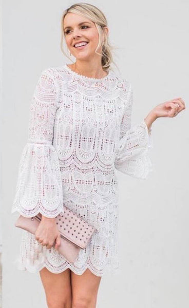 Echo of Exquisiteness Crochet Dress in White - girlyrose.com