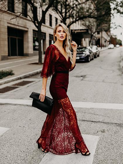 Ecstatic Burning Lace Floral Print Maxi Ruby Cover Up