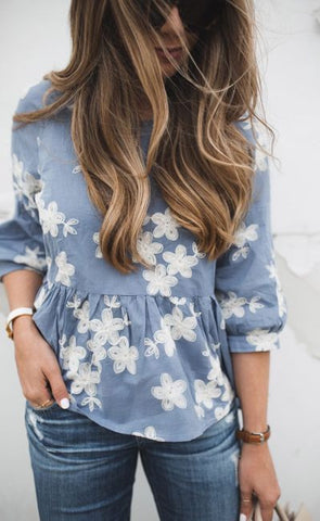 Ecstatic Flowers Embroidered Chambray Dolly Top