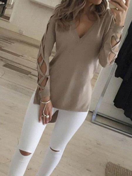 Ecstatic Sexy V neck Solid Color Cross Top