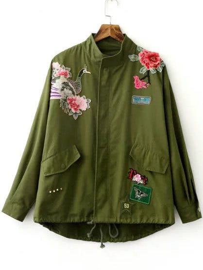 Embroidery Drawstring Hem Utility Coat - girlyrose.com