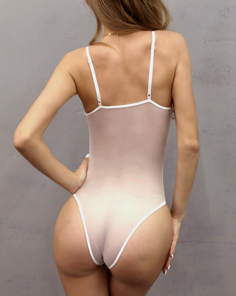 Eyelash Lace Sheer Striped Mesh Teddy Bodysuit - girlyrose.com