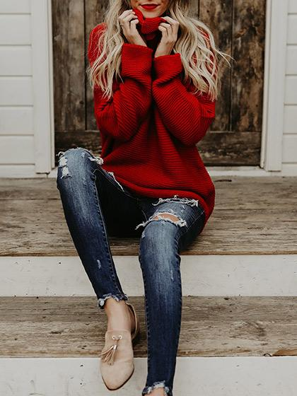 Fashion Casual Solid Color Turtleneck Sweater