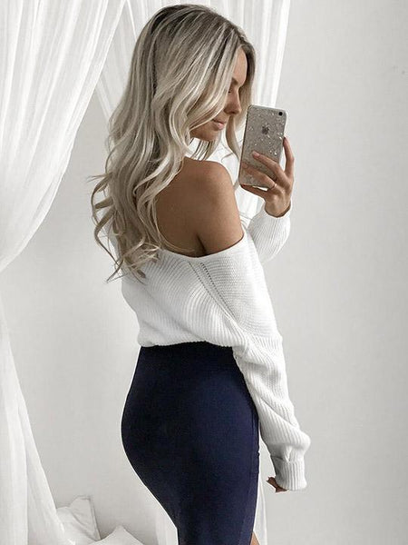 Fashion Casual White Bishop Deep V Neck Knit Sweater - girlyrose.com