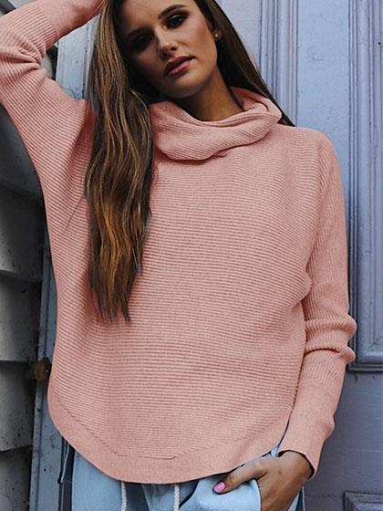 Fashion Cowl Neck Curved Hem Sweaters - girlyrose.com