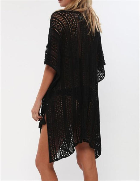 Fashion Crochet Bikini Cover Up Mini Dress - girlyrose.com