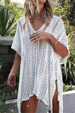 Fashion Crochet Bikini Cover Up Mini Dress