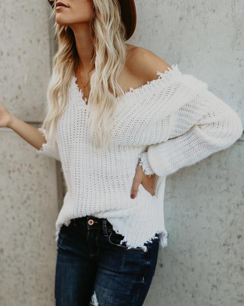 Fashion Deep V Neck Solid Color Long Sleeve White Sweater - girlyrose.com