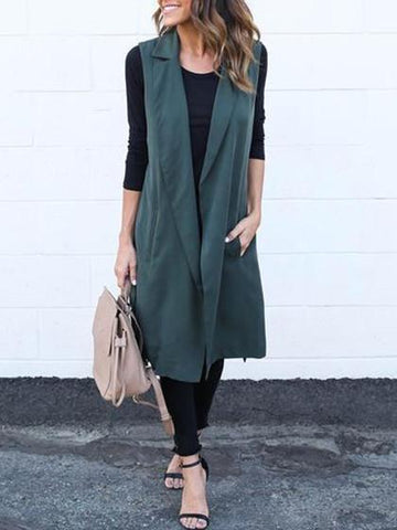 Fashion Elegant Sleeveless Solid Color Long Coat Cardigan - girlyrose.com