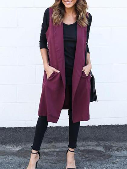 Fashion Elegant Sleeveless Solid Color Long Coat Cardigan