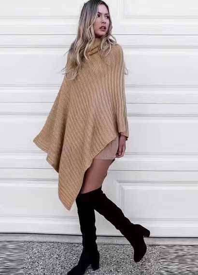 Fashion Gorgeous Thick Knit High Neck Solid Color Sweater Top - girlyrose.com