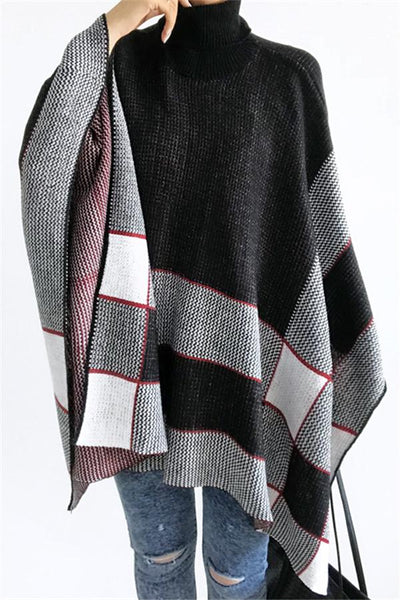 Fashion High Collar Plaid Cape - girlyrose.com
