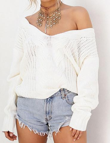 Fashion Knit Deep V Neck Top