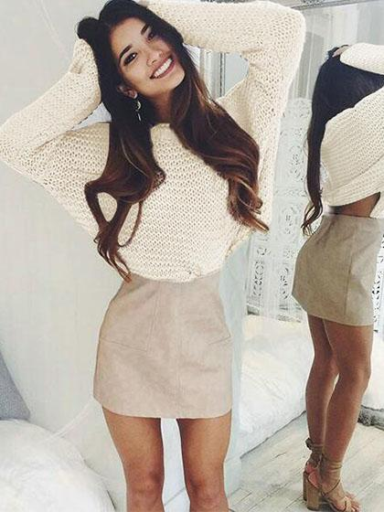 Fashion Knit Solid Color Loose Sweater - girlyrose.com