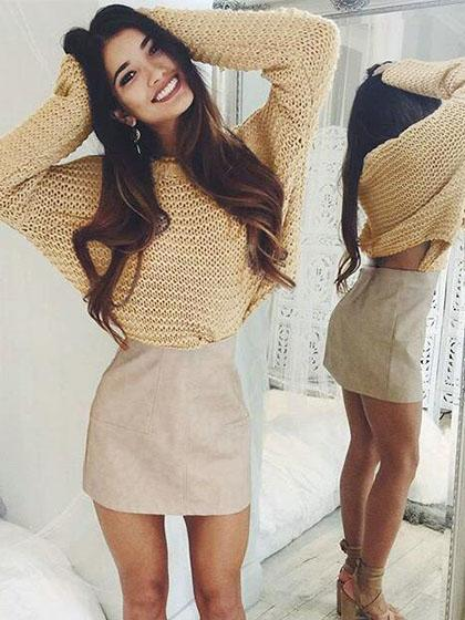 Fashion Knit Solid Color Loose Sweater