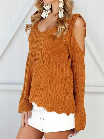 Fashion Off Shoulder Long Sleeve Sweater - girlyrose.com